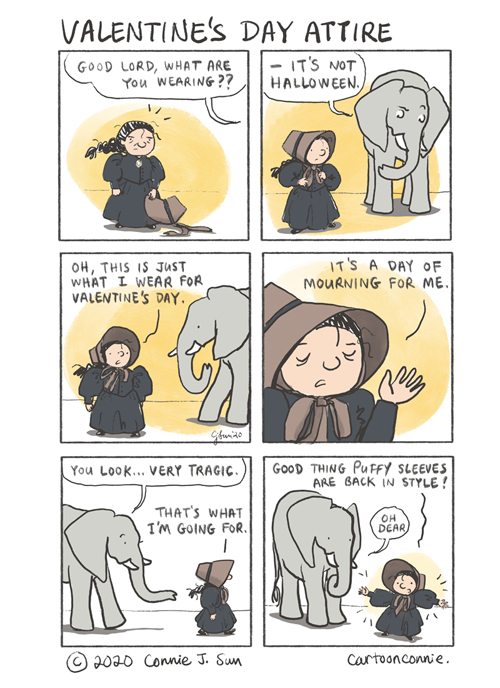 valentine's day, fashion, puffy sleeves, humor, comics, cartoon, illustration, elephant comic, old maid cartoon, connie sun, sketchbook, cartoonconnie
