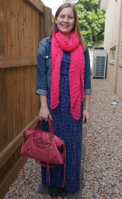 navy printed maxi dress with denim jacket pink scarf Balenciaga sorbet pink city bag 2010 birthday party outfit | away from the blue