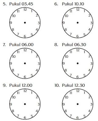 letak jarum jam untuk waktu-waktu berikut ini www.simplenews.me