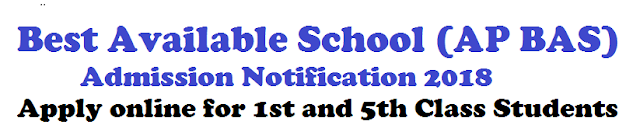 `Best Available School (AP BAS) Admission Notification 2018 – Apply online for 1st and 5th Class Students