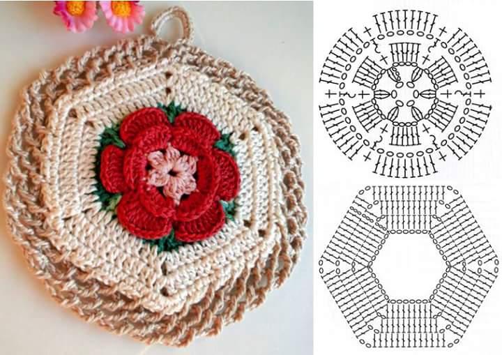 Mattonella uncinetto con fiore in rilievo schema craft room da