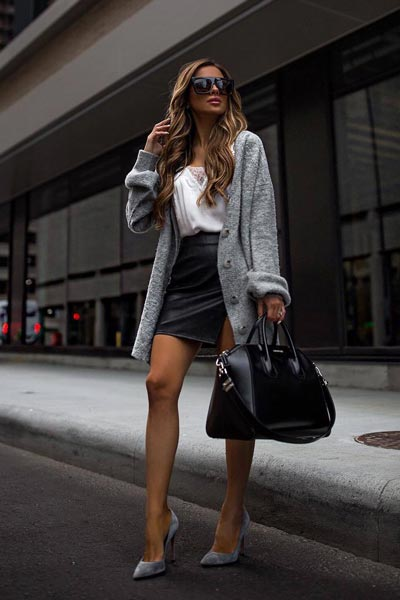 21 Fall Clothing Ideas That are Anything but Boring | Bodysuit in Ivory + Cardigan Sweater + Leather Skirt + Mid Heel Pumps