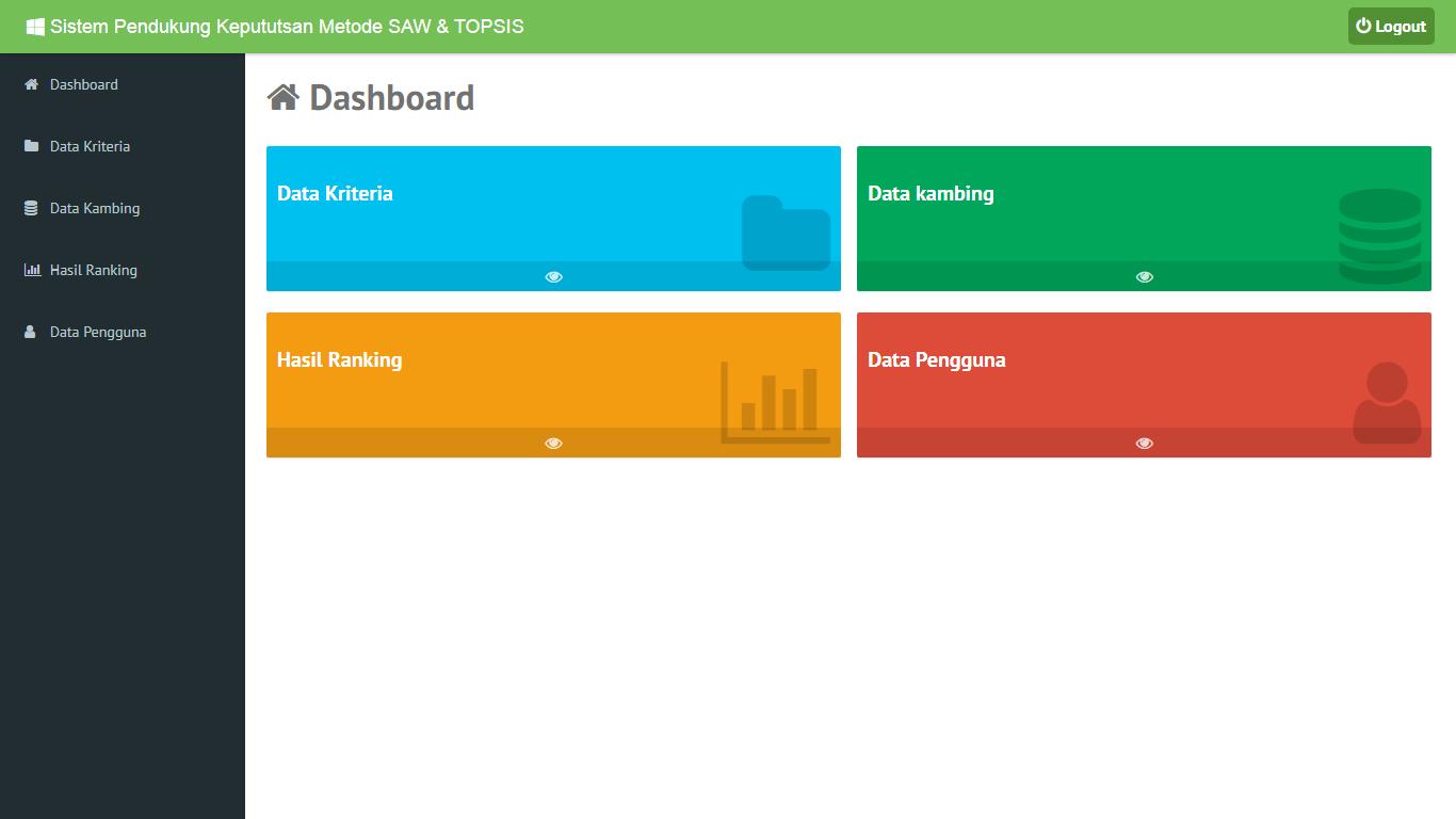 Aplikasi Sistem Pendukung Keputusan Pemilihan Kambing Menggunakan Metode SAW Dan TOPSIS - SourceCodeKu.com
