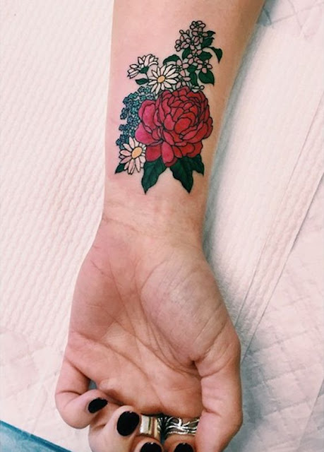 Colorful Wrist Tattoos Designs For Girls