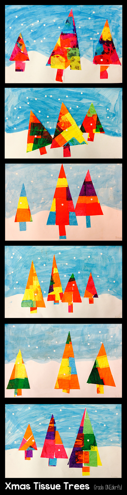 Colourful Tissue Christmas Trees from Grade ONEderful