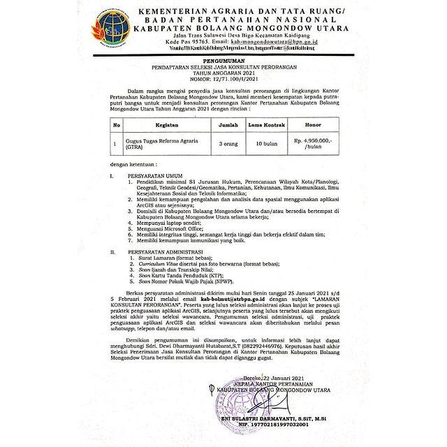 Lowongan Kerja Non PNS Kementerian ATR/BPN Minimal S1 Bulan Februari 2021