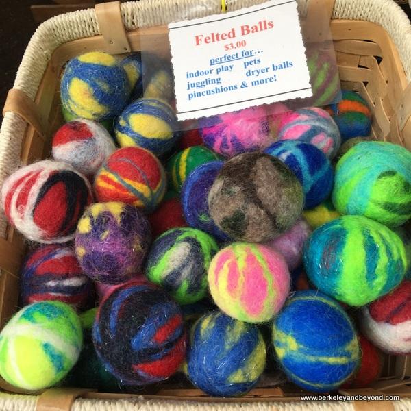 colorful felted balls at Portland Farmers Market in Portland, Oregon