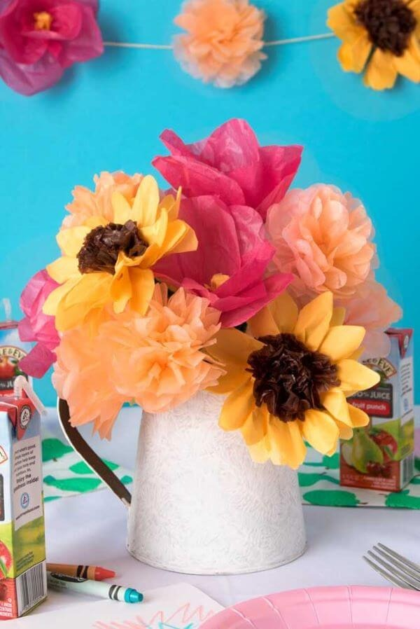 Decoration with colorful tissue paper flowers