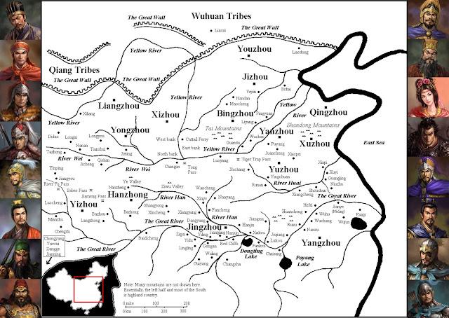 ภาพแผนที่สามก๊ก จากหนังสือ Romance of the Three Kingdoms Ebook