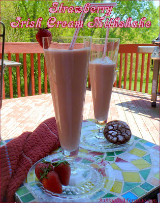 Strawberry Irish Cream Milkshake, cool off with a refreshing adult beverage, perfect for parties, cookouts, or after any hot summer day. | Recipe developed by www.BakingInATornado.com | #recipe #cocktail