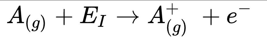 जहाँ A(g) किसी रासायनिक तत्त्व का गैसीय अवस्था में स्थित परमाणु है; Ei, आयनन ऊर्जा है जिसको प्रथम आयनन ऊर्जा भी कहते हैं। दूसरे सबसे शिलिलतः बद्ध इलेक्ट्रान को परमाणु से बाहर निकालने के लिये आवश्यक ऊर्जा को द्वितीय आयनन ऊर्जा कहते हैं। द्वितीय आयनन ऊर्जा, प्रथम आयनन ऊर्जा से अधिक होती है।  आययन ऊर्जा को इलेक्ट्रान वोल्ट (eV) में, या 'जूल प्रति मोल' में व्यक्त किया जाता है। 1 eV = 1,6 × 10-19C × 1 V = 1,6 × 10-19J