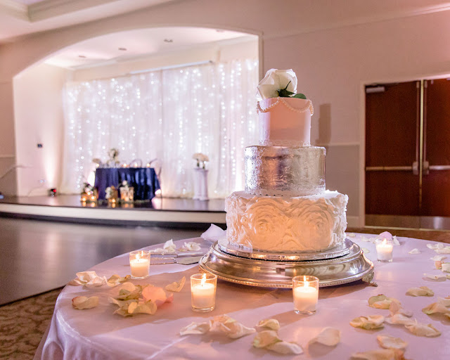wedding cake display and sweetheart table