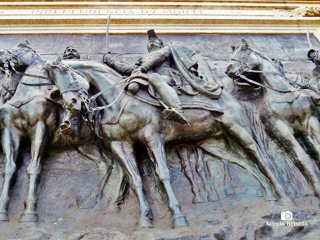 Close-up da Escultura Dom Pedro I - Painel Independência ou Morte - Ipiranga - São Paulo