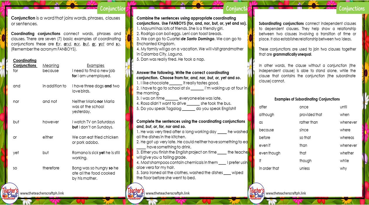 Conjunctions Worksheets- English grade 5- week 8 Q1 - The Teacher's Craft [ 701 x 1258 Pixel ]