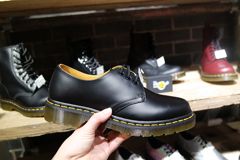 Classic Dr Martens Black Leather Shoes Yellow Stitching