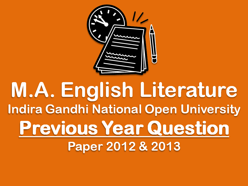 Previous Year Question Papers M.A. English