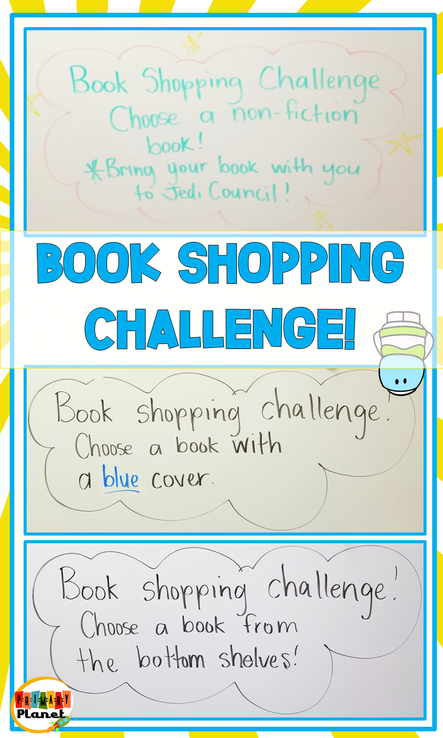 Book Shopping Challenges, just one of the 8 Morning Works Ideas (Part 1)  for 1st, 2nd, or 3rd grade that don't involve worksheets! You will also find fun morning work (bell ringer) ideas for morning work tubs, free activities, and even some paperless bell ringer choices!  Most ideas are little to no prep! Morning Work ideas for Reading, Writing, Math, Book Shopping, and Computers!  Don't forget to save and grab your freebies!  #morningwork #teachers #primaryplanet