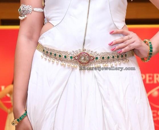 Nikitha in Pachi Choker Waist Belt