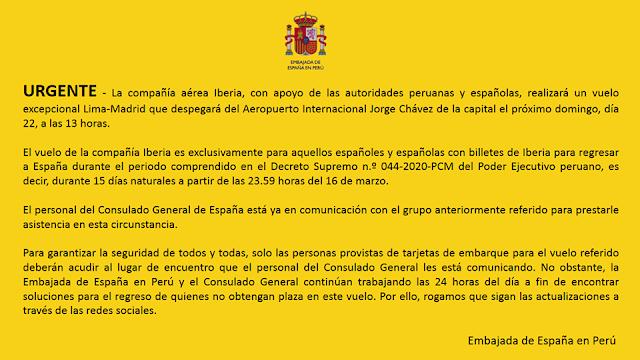 Cartel de la Embajada de España en Perú