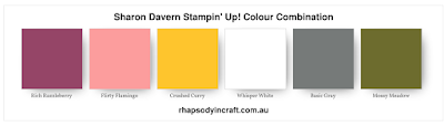 Stampin' Up colour Combination, Rich Razzleberry, Flirty Flamingo, Crushed Curry, Whisper White, Crushed Curry, Mossy Meadow, Basic Gray