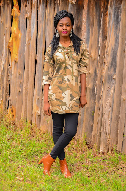 How To Wear The Camouflage Fashion Trend With  Patent Leather Boots