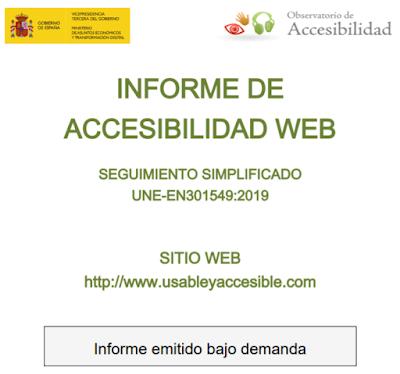 Portada del informe de accesibilidad del sitio www.usableyaccesible.com con el validador del Observatorio de accesibilidad de acuerdo a la EN 301 549:2019