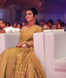 Wink Star Priya Prakash Varrier Looks Hot And Beautiful in Golden-Green Dress