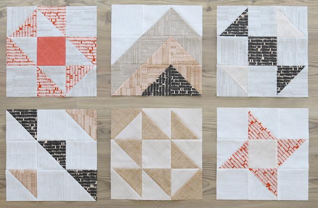 HST Quilt-Along - 6 first blocks - Carolyn Friedlander fabrics