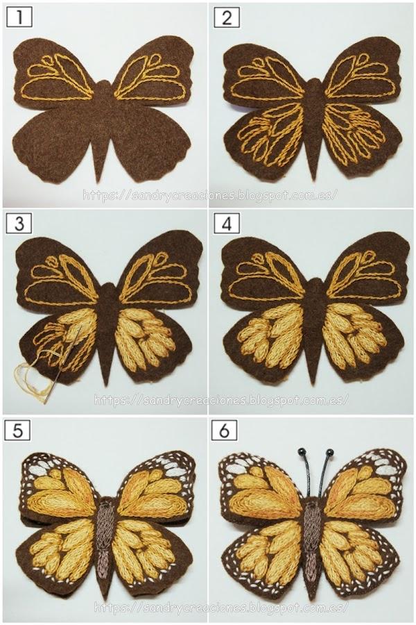 seis pasos donde se muestra el proceso de bordado del broche mariposa marrón
