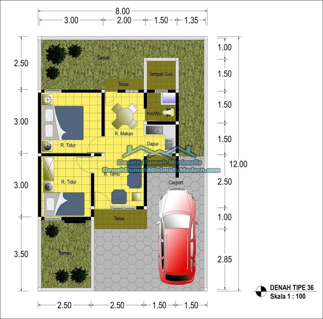 gambar denah rumah sederhana type 36 4