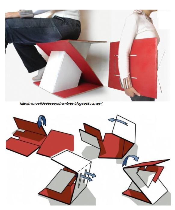 asiento, cartón, transportable, manualidades, diseños