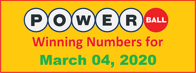 PowerBall Winning Numbers for Wednesday, March 04, 2020