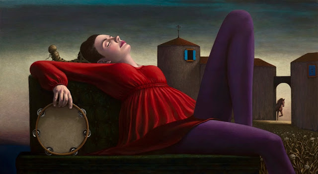 Obra de arte, pintura contemporanea: mujer yace dormida frente a un castillo. Cool picture.
