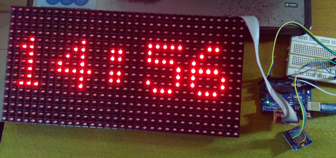 Project I 19 Digital Clock using LED Matrix P10 Module