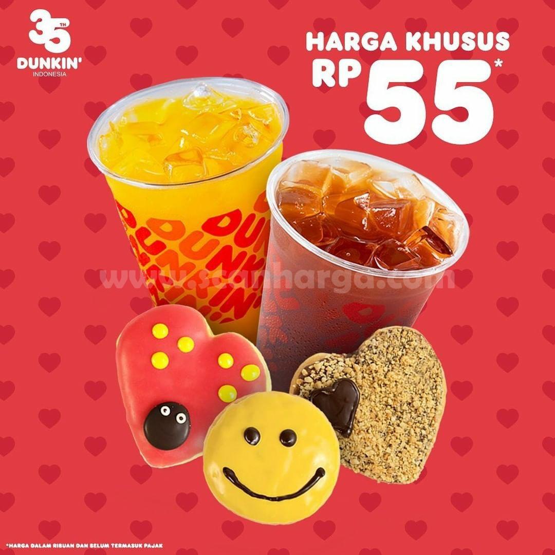 Dunkin Donut's Promo Harga Khusus 3 Donut dan 2 Minuman Hanya Rp.55.000 Pakai Kupon Line