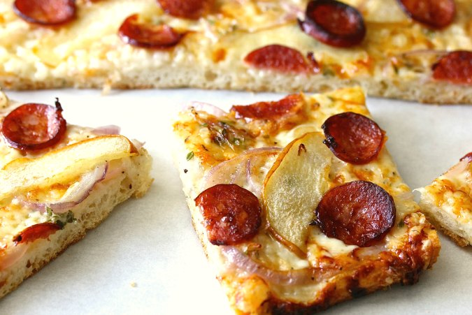 Slices of Asian Pear and Smoked Sausage Flatbread Pizza