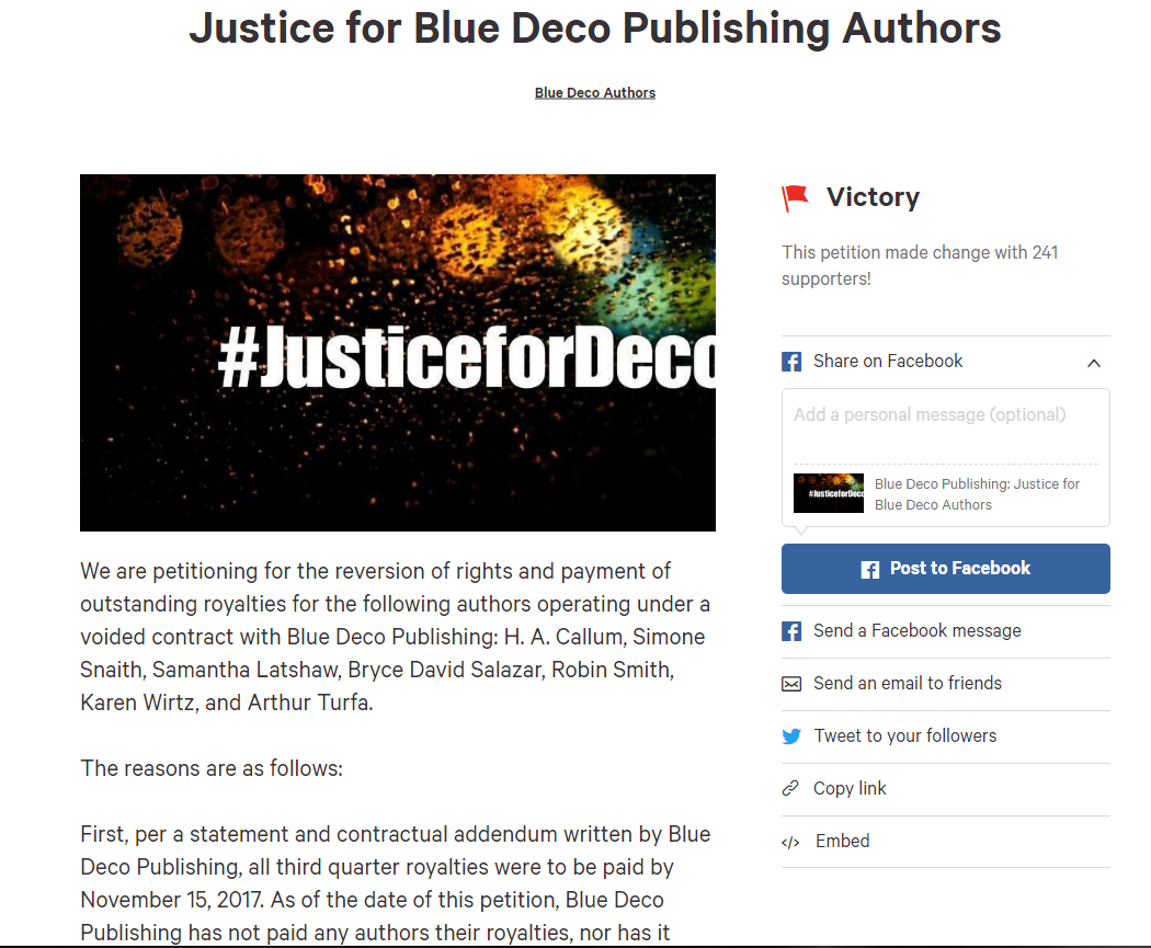 Writer Beware®: The Blog: Alert: Blue Deco Publishing