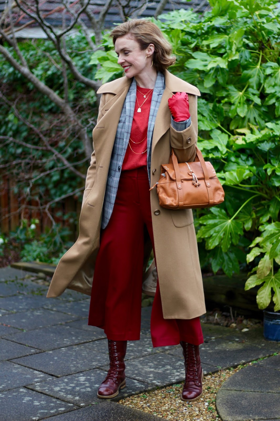 Camel and Red   Layering a Coat over a Blazer   Winter Outfit