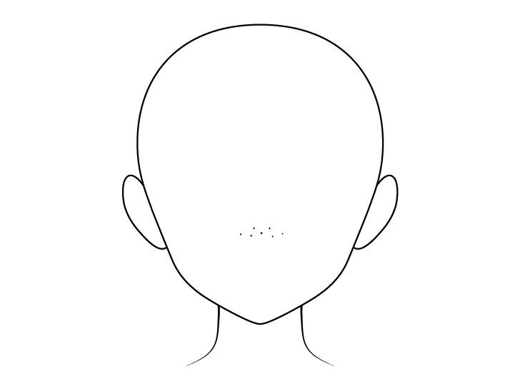 Bintik-bintik anime pada gambar kepala hidung