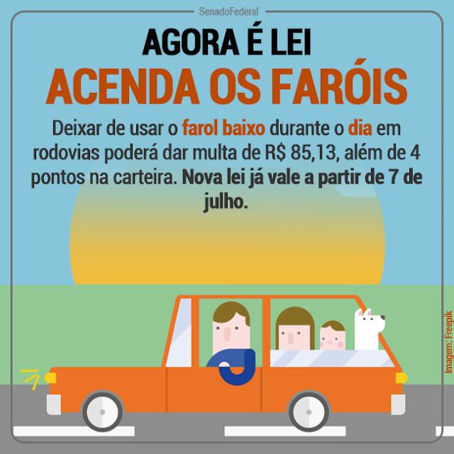 Obrigatoriedade do farol baixo em rodovias vale a partir do dia 8/7