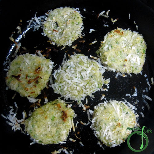 Morsels of Life - Coconut Shrimp Patties Step 4 - Pan fry the shrimp cakes until crispy on each side.