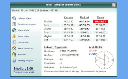 Aplikasi Adzan Otomatis Offline PC - Shollu
