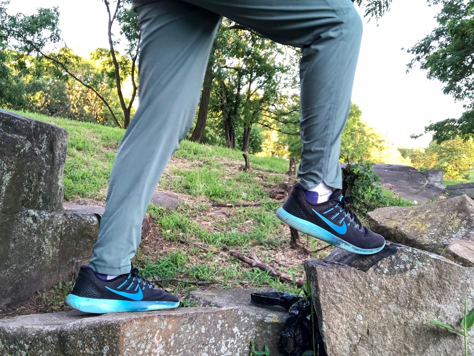 Sahara stepping in blue nike sneakers