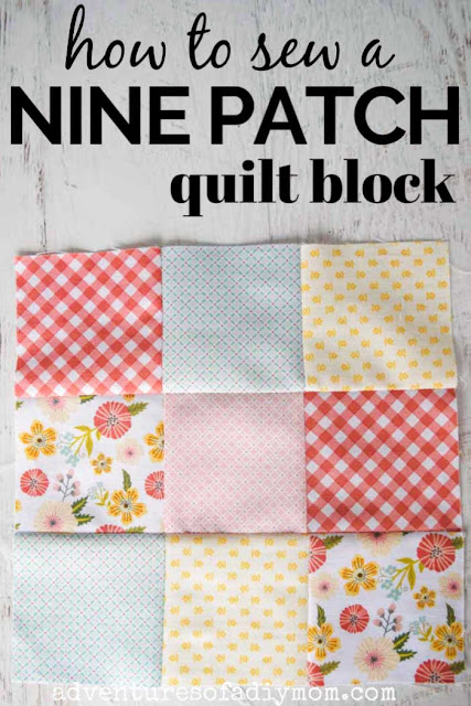 a nine patch quilt block with descriptive text