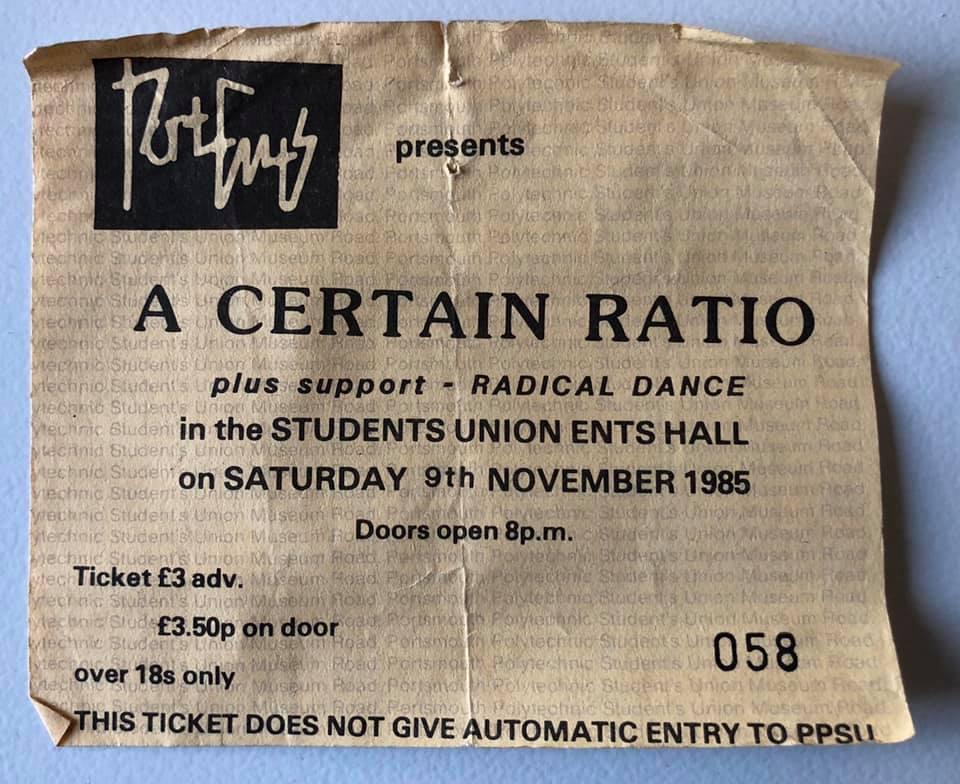 9 November 1985, Students Union, Portsmouth Polytechnic, Portsmouth - ACR Gigography