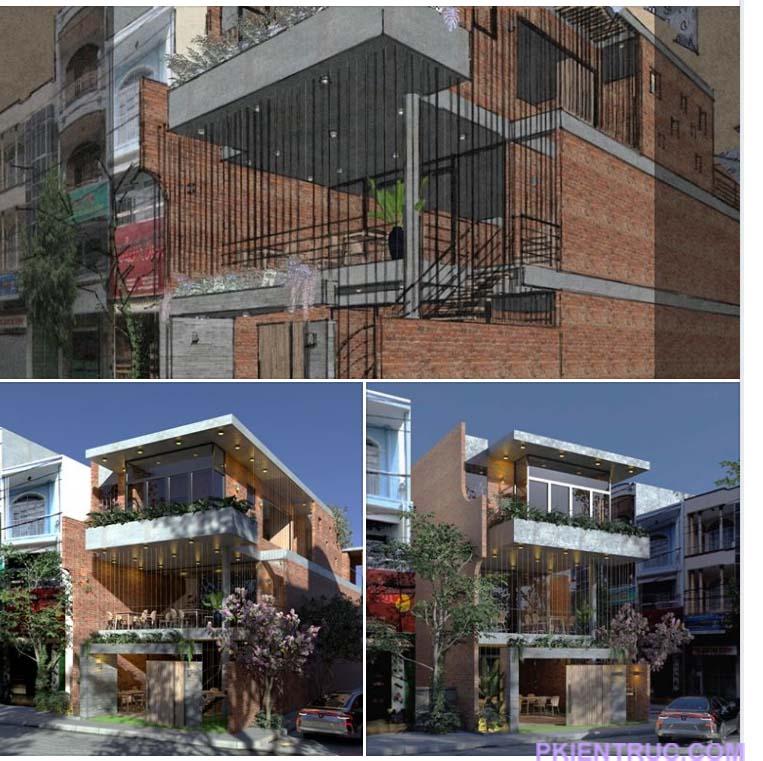 Các hình ảnh 3d nhà phố phong cách thô mộc