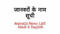 Animals Name List In Hindi And English जानवरों के नाम सूची अंग्रेजी और हिंदी में