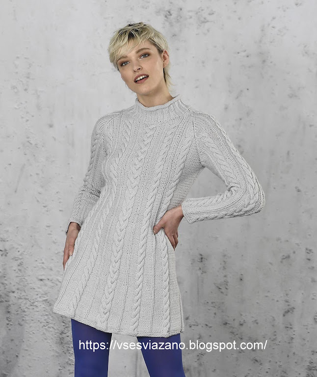 Зимнее платье-трапеция  в косы: стройнит! К джинсам и леггинсам.