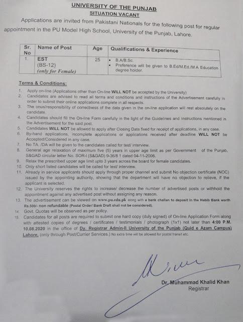 University of the Punjab Jobs 2020