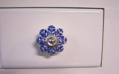 hand painted blue ceramic knob
